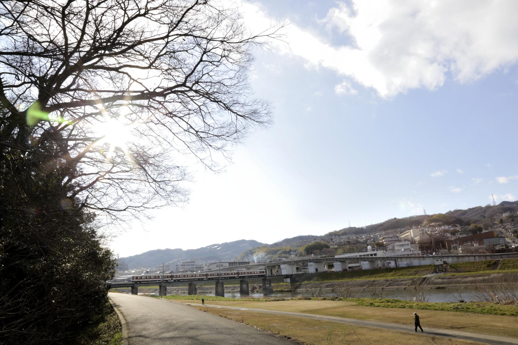 大和川鉄橋を渡る生駒線の電車