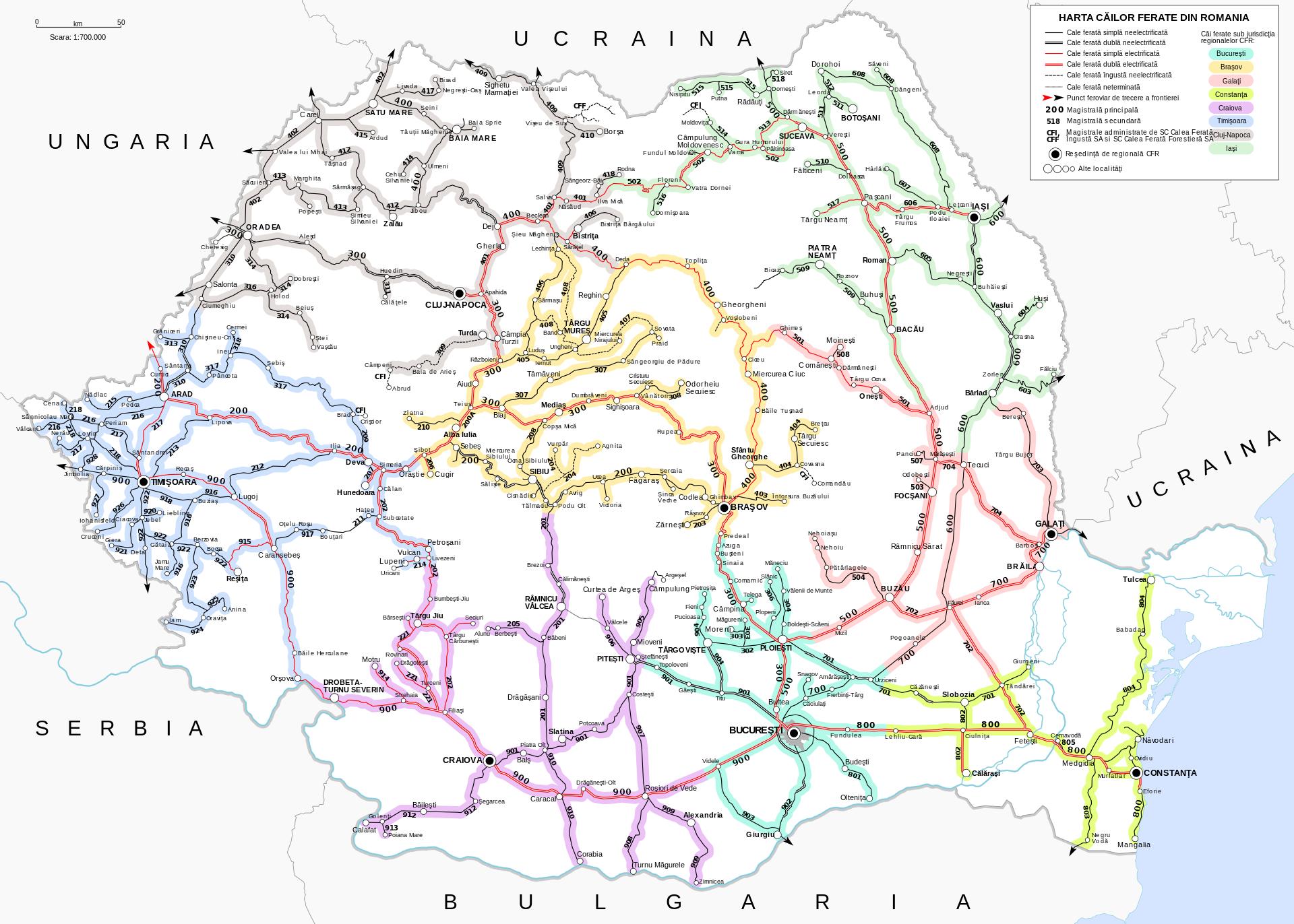 Romania鉄道路線図