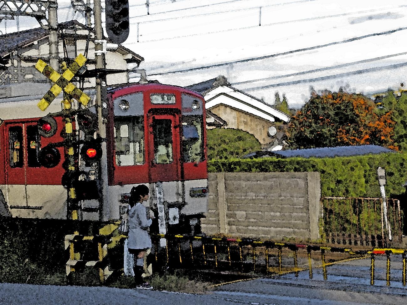 水彩タッチ 信貴電ー柿と電車-02