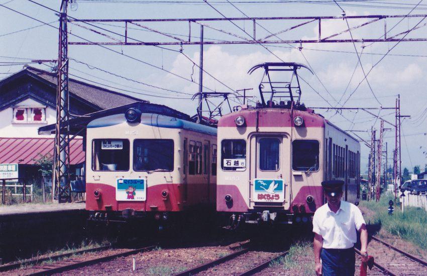 福島電鉄の大型車が2両入線していた。単車で使用されていた